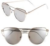 BP Women's 51Mm Thin Brow Angular Aviator Sunglasses - Gold/ Silver