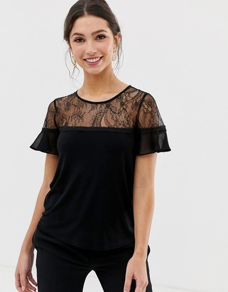 Forever New lace detail short sleeve blouse in black