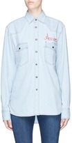 Forte Couture 'Kill Bill' slogan embroidered chambray shirt
