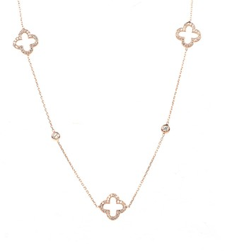 Rosegold Open Clover Long Necklace
