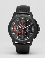 Michael Kors Ryker Chronograph Leather Watch In Black MK8521