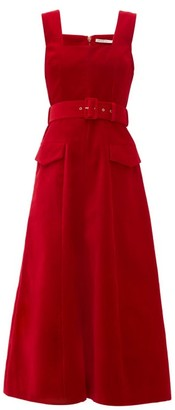 Emilia Wickstead Petra Belted Velvet Midi Dress - Womens - Red
