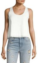 Alexander Wang T by Cropped Cotton Burlap Tank Top