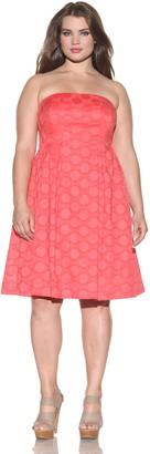 Donna Morgan Women's Plus Clip Circle Strapless Jacquard Dress