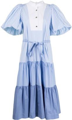 Eudon Choi Colour-Block Ruffled Midi Dress