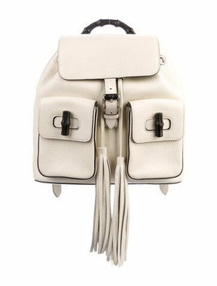 Gucci Leather Bamboo Daily Backpack silver
