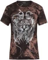 Balmain Distressed tiger-print cotton-jersey T-shirt