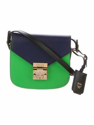 MCM Small Leather Patricia Crossbody Bag Green
