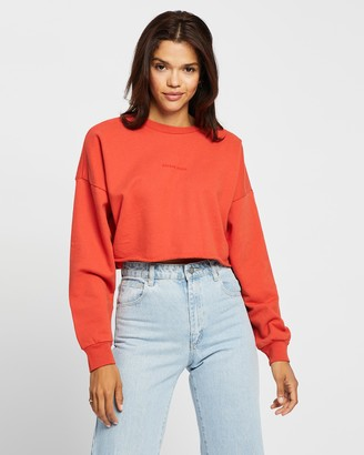 Abrand - Women's Red Sweats - A Oversized Crop Sweater - Size S at The Iconic