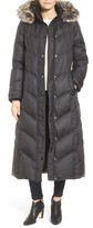 London Fog Faux Fur Trim Quilted Maxi Coat