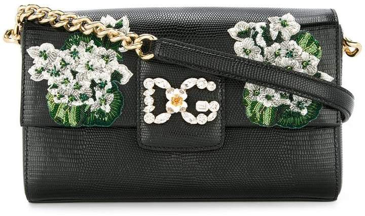 Dolce & Gabbana white geranium embroidered Millennials shoulder bag