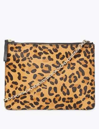 M&S CollectionMarks and Spencer Leather Leopard Print Shoulder Bag