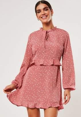 Missguided Blush Floral High Neck Frill Waist Tea Dress