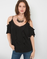 White House Black Market Ruffle-Detail Cold-Shoulder Blouse