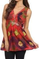 Sakkas 13518 - Allena Sequin Embroidered Sleeveless Elegant V-Neck Blouse / Top