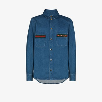 Gucci Web-detail long-sleeve denim shirt