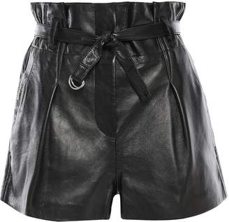 3.1 Phillip Lim Origami Belted Pleated Leather Shorts