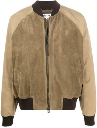 Acne Studios Suede Two-Tone Bomber Jacket