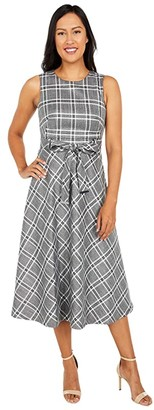 Calvin Klein Belted Plaid Dress with Lurex (Black/Cream/Silver) Women's Dress