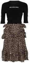 Balenciaga Women's Beige/black Polyester Dress.