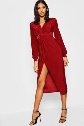 boohoo Tall Disco Slinky Twist Front Wrap Dress