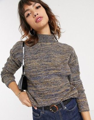 Esprit space dye high neck knitted jumper in multi