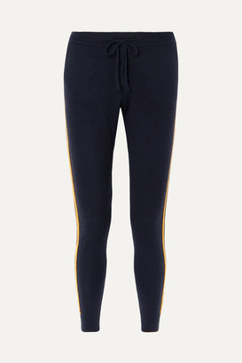 Chinti and Parker Striped Cashmere And Wool-blend Track Pants - Navy