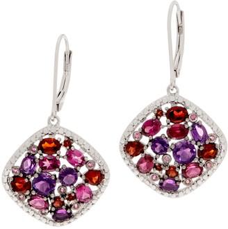 Amethyst & Rhodolite Mosaic Earrings, Sterling Silver