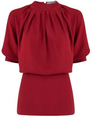 Klaudia Karamandi Violeta Red Slim-Fit Blouse