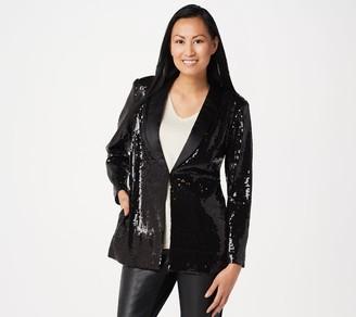 Lisa Rinna Collection Stretch Button Front Sequin Blazer