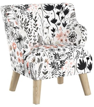 Skyline Furniture Kids Modern Chair in Winter Botanical Red