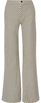 J Brand Larrabee Striped Stretch-Cotton Flared Pants