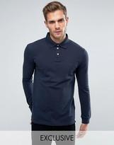 Jack Wills Staplecross Long Sleeve Polo Shirt In Navy