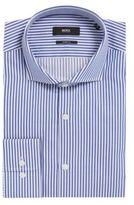 HUGO BOSS Striped Cotton Dress Shirt, Sharp Fit Mark US 17.5/R Blue