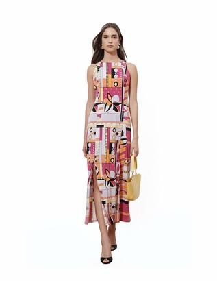 Donna Morgan Women's Sleeveless Stretch Knit Jersey Double Front Slit Maxi Dress