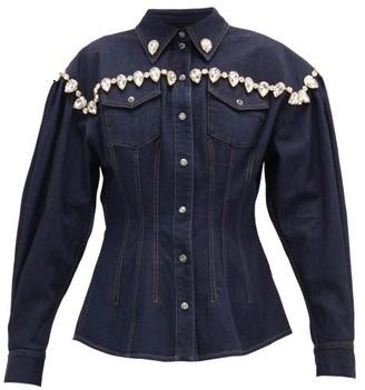 Dolce & Gabbana Crystal-embellished Denim Jacket - Womens - Denim