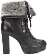 Santoni faux fur trim ankle boots