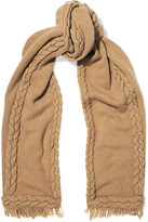 Agnona Cable-knit wool and cashmere-blend scarf