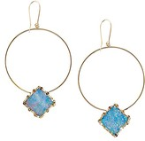 Lana 14K Yellow Gold Small Frosted Square Opal Hoop Drop Earrings