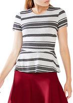 BCBGMAXAZRIA Karine Short Sleeve Peplum Top