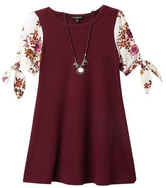 My Michelle mymichelle Knit Top Woven Print Sleeve Dress & Necklace Set (Big Girls)