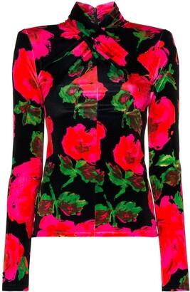 Richard Quinn Crossover Neck Floral Top