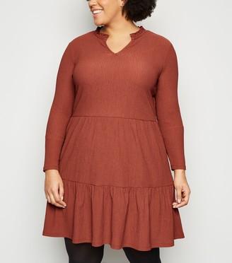 New Look Curves Crinkle Tiered Mini Smock Dress