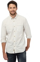 Mantaray Big And Tall Off White Dobby Striped Regular Fit Shirt