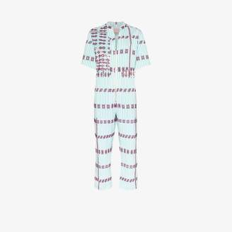 Pippa Holt embroidered stripe cotton jumpsuit