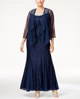 R & M Richards Plus Size Embellished Lace Gown & Jacket