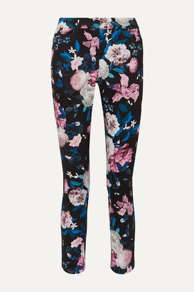 Erdem Sidney Floral-print Cotton-blend Slim-leg Pants - Pink