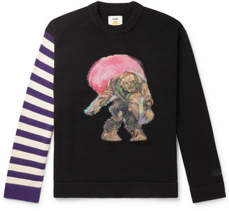 Acne Studios Monster in My Pocket Cotton and Wool and Cashmere-Blend Intarsia Sweater - Men - Purple