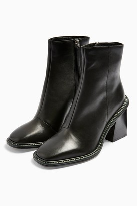 Topshop HUGH Leather Black Boots