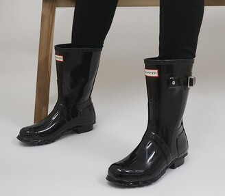 Hunter Womens Original Short Gloss Wellies Black Gloss